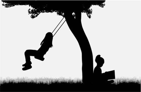 Silhouettes d'enfants qui jouent. Banque d'images - 80927173