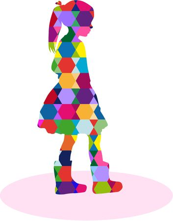 similar: Silhouette of girl on the abstract background. Illustration
