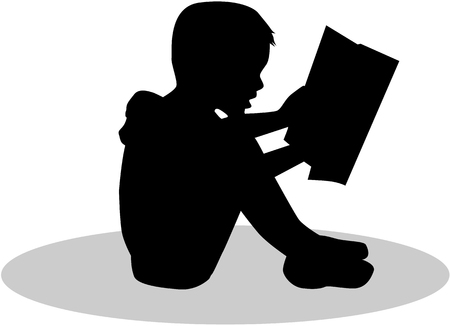 reader: Silhouette of a child reading a book at.