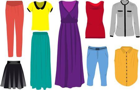 Set of womens clothes.