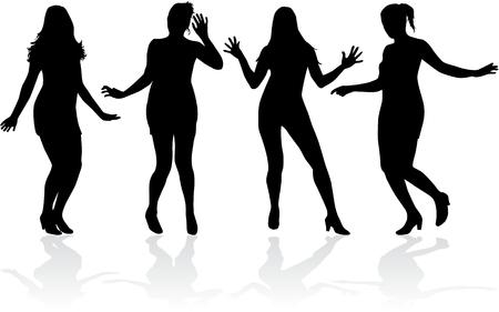 Tanzende Menschen Silhouetten. Standard-Bild - 81003816