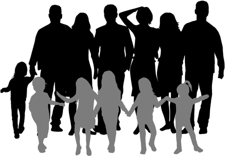 Vector silhouette of family.Group of people.