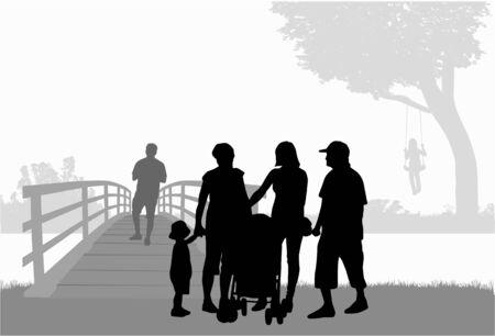 家族のシルエット都市背景。  イラスト・ベクター素材
