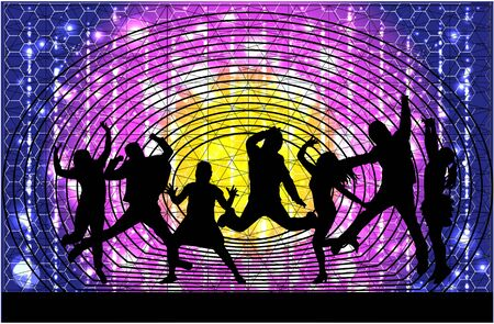 Dancing people silhouettes. Abstract background. Illustration