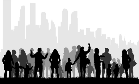 Family silhouette, urban background. Illustration