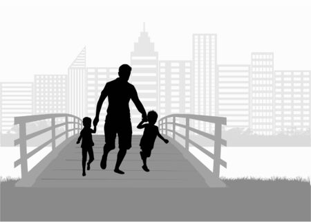Family silhouette urban background. Illustration
