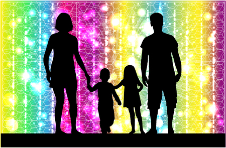 children silhouettes: Family silhouettes . Abstract background.