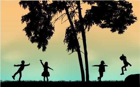 Silhouettes of children playing. Silhouettes conceptual. Ilustração