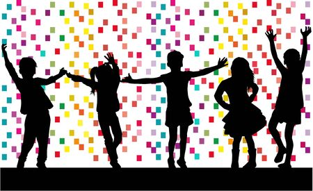 Dancing children. Silhouettes of people concept. Illustration