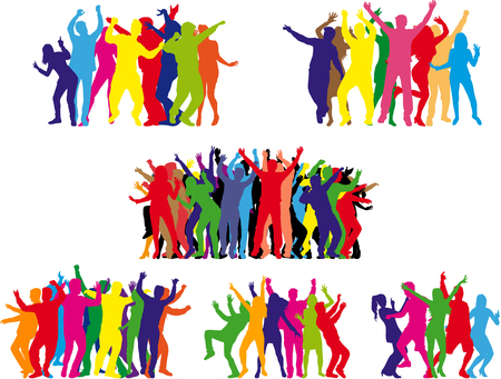 Dansende mensen silhouetten. Vector werk.