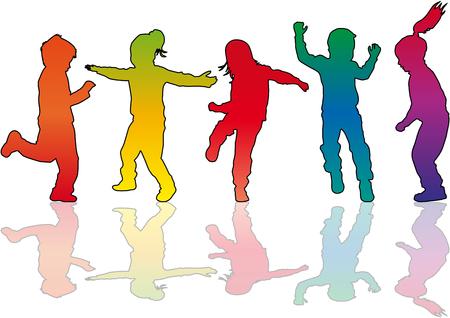 Vector Silhouette von Kindern auf weißem Hintergrund. Standard-Bild - 87801400