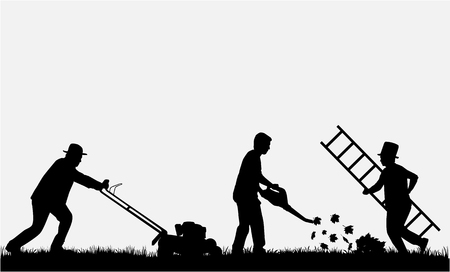 Silhouettes of people cleaning the garden. Vectores