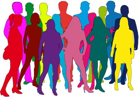 人々のグループ。ひと混みのシルエット。  イラスト・ベクター素材