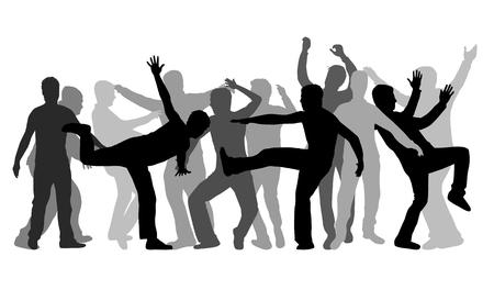 Training Men. Black silhouettes. Banco de Imagens - 89095398