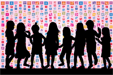 Children silhouette. Abstract background.