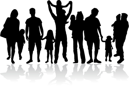 Vector silhouette of family. Çizim
