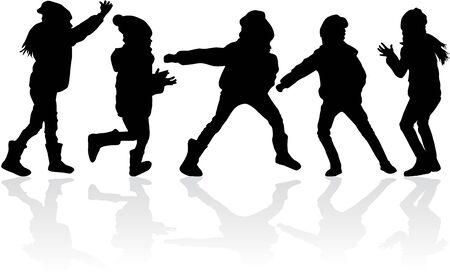 Silhouette of kids on white illustration.