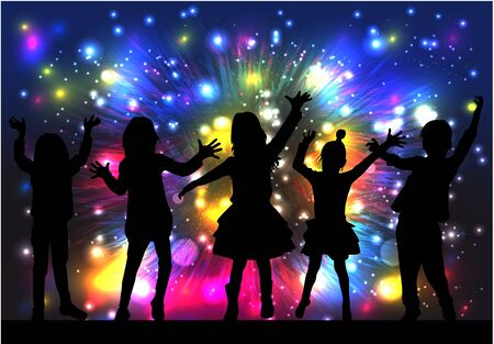 Dancing people silhouettes in abstract colorful pattern.