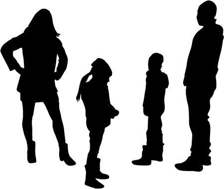 Silhouette of a family.