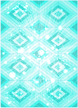 Colorful stained glass pattern design. Illustration