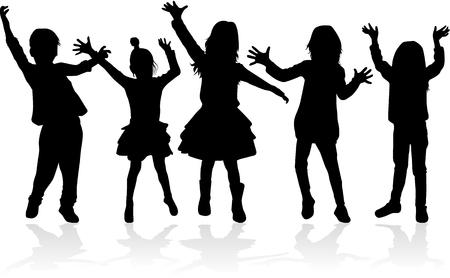 Dancing kids silhouettes illustration. Illustration