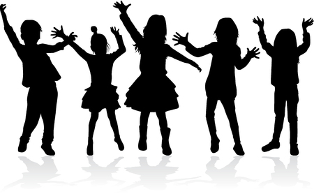 Dancing kids silhouettes illustration. Vettoriali