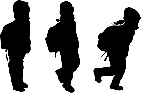 Childrens black silhouettes. Vettoriali