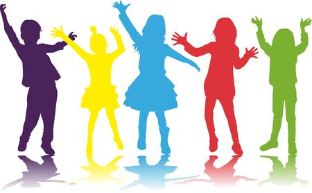 Dancing children. Silhouettes people conceptual. Illustration