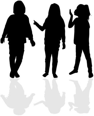 Children In black silhouettes. Ilustração