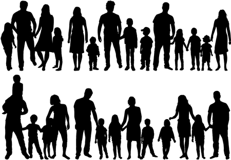 Illustration of silhouette of set of families on white background.