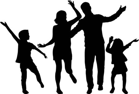 Silhouette illustration of happy family on white background.