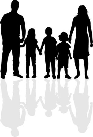 Vector silhouette of family.  イラスト・ベクター素材