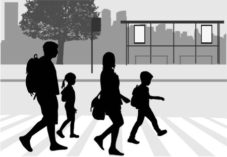 Silhouette illustration of family, walking on the street, on white background.