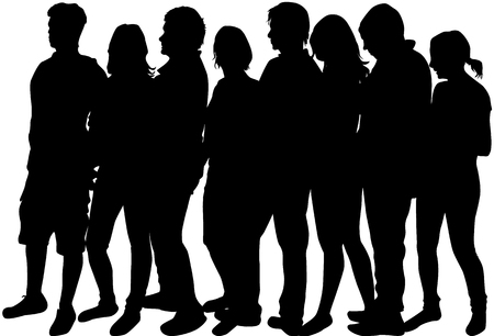 Group of people. Crowd of people silhouettes. Фото со стока - 96551315