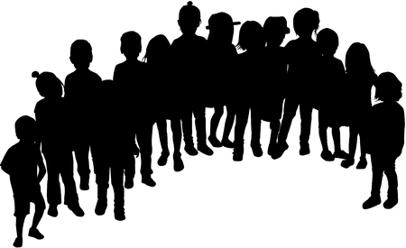 Childrens black silhouettes .