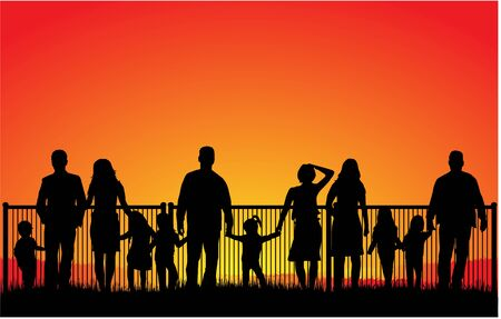 Silhouette illustration of group of families watching sunset. Иллюстрация