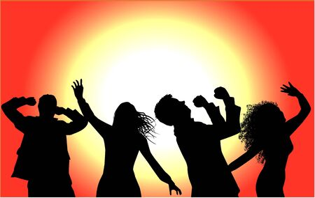 Dancing people silhouettes Abstract background.