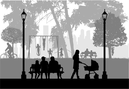 People silhouettes, urban background.