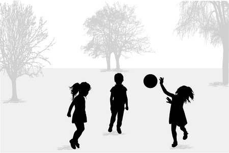 Playing with a ball . Children silhouettes.
