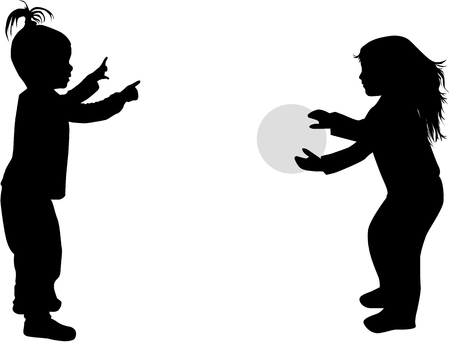 Playing with a ball.Children silhouettes. 矢量图像