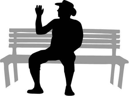 A man sitting on a bench.