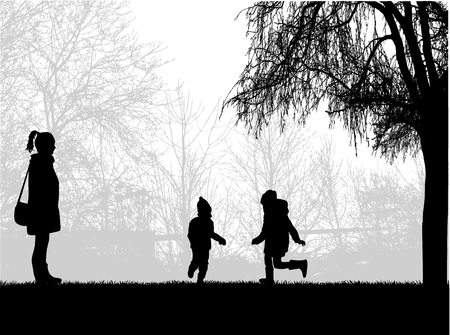 Family silhouettes in nature. Banque d'images - 100308815