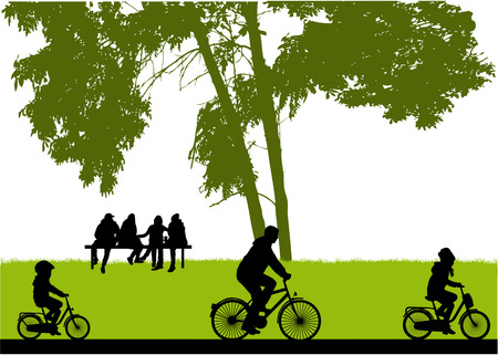 People silhouettes, nature background. Ilustração