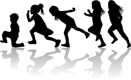 Kinder schwarze Silhouetten . Standard-Bild - 102025547