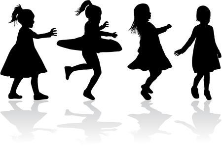 Childrens black silhouettes . Standard-Bild - 102137935
