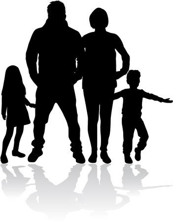 Vector silhouette of family. Illustration