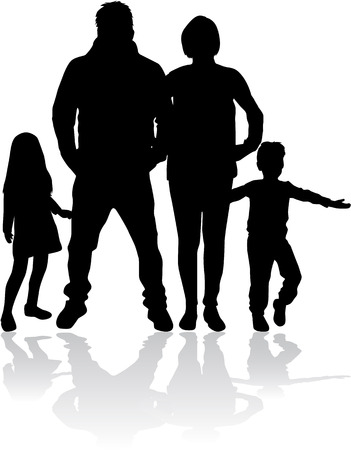 Vector silhouette of family. Illustration