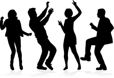 Gente bailando siluetas . vector de la pasión . Foto de archivo - 102126741