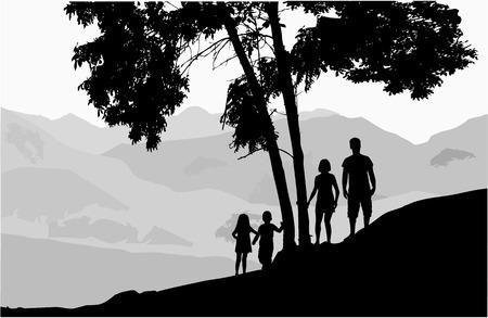 Familienschattenbilder in der Natur Standard-Bild - 102025550