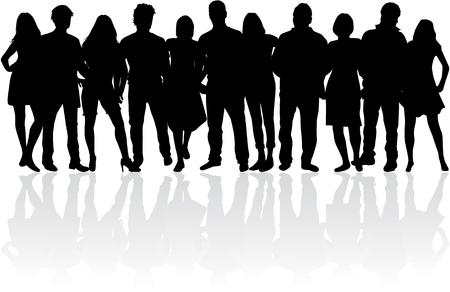 Grupo de personas. Multitud de siluetas de personas.